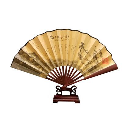 廣告禮品折扇廣告扇子定制高檔禮品扇子竹骨絹布折扇中國風工藝扇圖案可定制