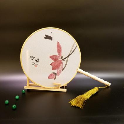 義和真絲團扇圓形宮扇扇子女式古典宮廷漢服舞蹈扇可定制圖案