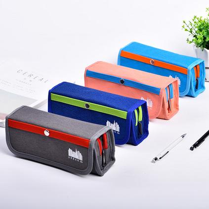 得力大容量學生簡約文具盒鉛筆盒兒童創意收納筆袋定制