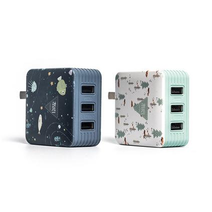 冇心3U物語手機充電頭 3C認證安卓蘋果快充閃充3-USB輸出3A充電器定制