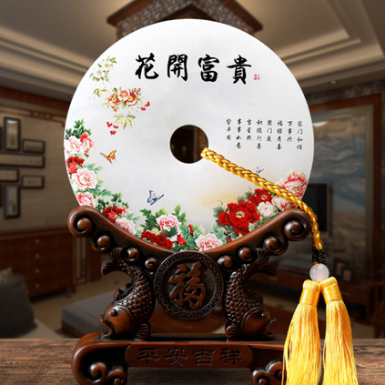 阿富汗客廳擺件平安扣玉石和氏璧風景開業禮品辦公室飾品定制