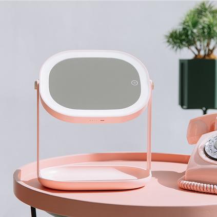 3life美颜柔光led化妆镜创意小镜子浴室镜装饰镜挂镜立镜二合一便携迷你镜子定制