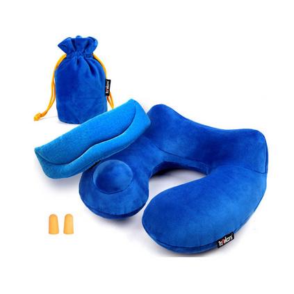 商旅宝U型自动充气枕便携式旅游旅行自动充气护颈枕三件套定制