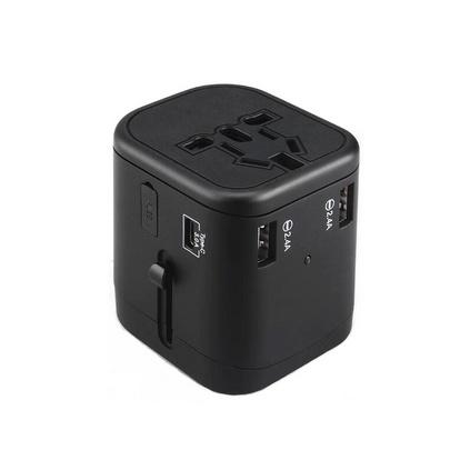 恩谷(ENGUE)全球通转换插座  4USB口出国旅行多功能电源转换器 美欧英德标日本港版快充 新款EG-401 黑色转换插头定制