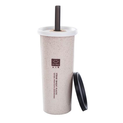小麥帶吸管杯成人學生喝水杯雙蓋塑料隨手杯子韓版創意單層杯定制