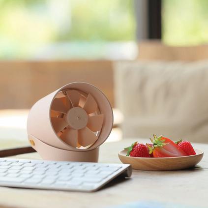 VH「羽」靜音柔風觸控智能USB雙葉風扇 創意迷你便攜式學生小風扇定制