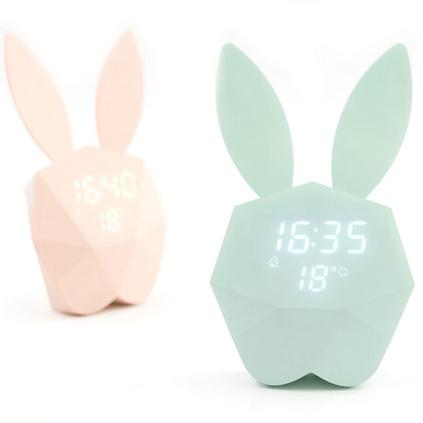 咪兔鬧鐘創意貪睡小夜燈音樂LED充電聲控鬧鐘定制
