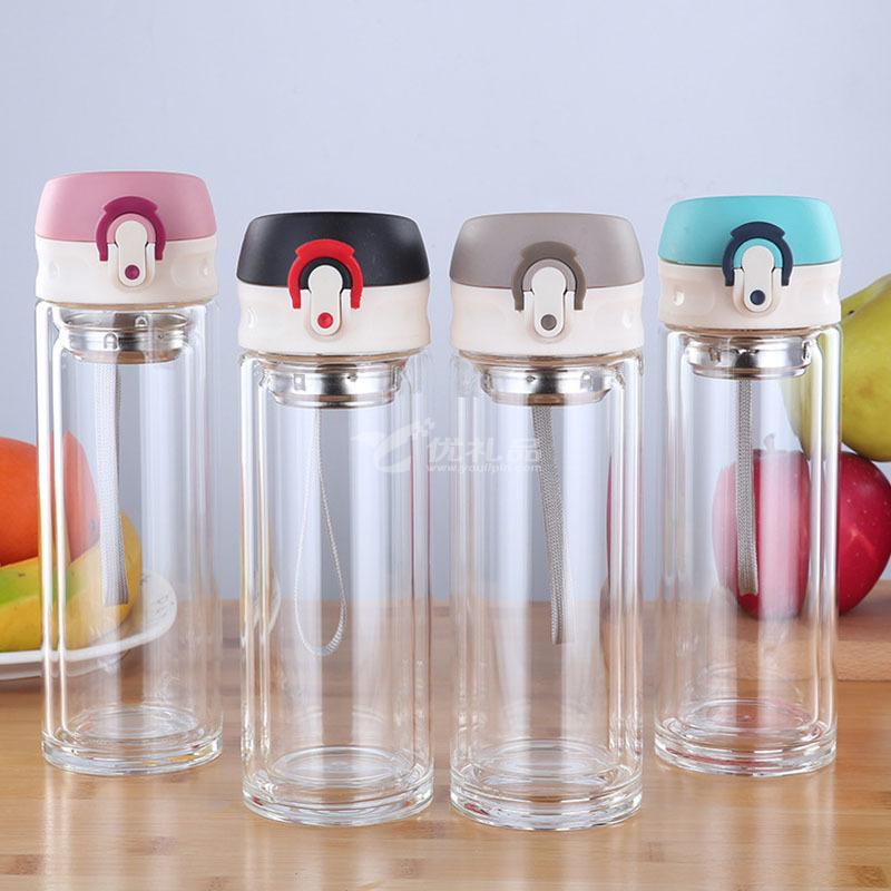 便攜創意彈跳水杯300ml透明玻璃杯定制