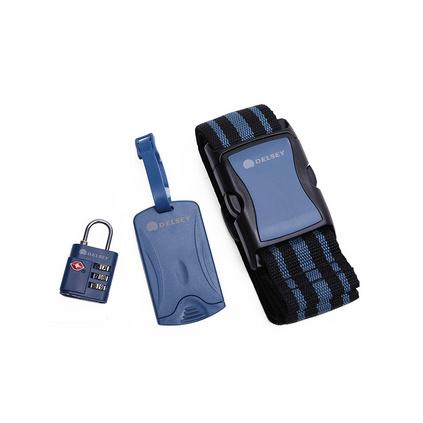 Delsey法國大使國際TSA密碼鎖+行李信息牌+行李箱帶套裝組合定制
