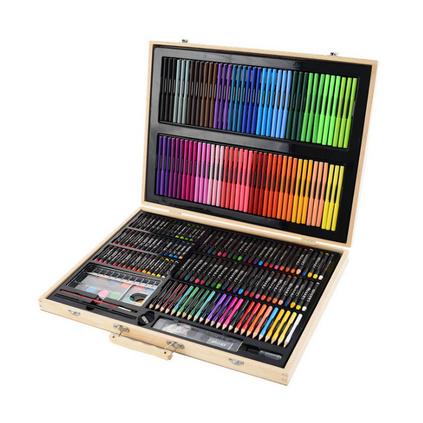 251件木质儿童绘画水彩笔套装文具礼盒幼儿园?#26391;?#24037;具奖品礼品定制