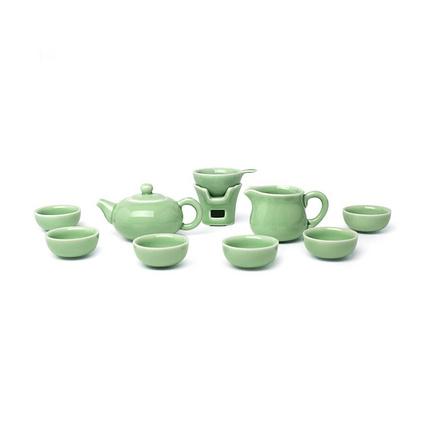 堂悅坊 玉玲瓏茶具禮盒梅子青功夫茶具一壺六杯10件裝茶具套裝定制