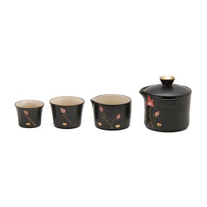 堂悦坊 陶瓷解语花荷花茶具旅行套装个性创意茶壶套装礼盒定制
