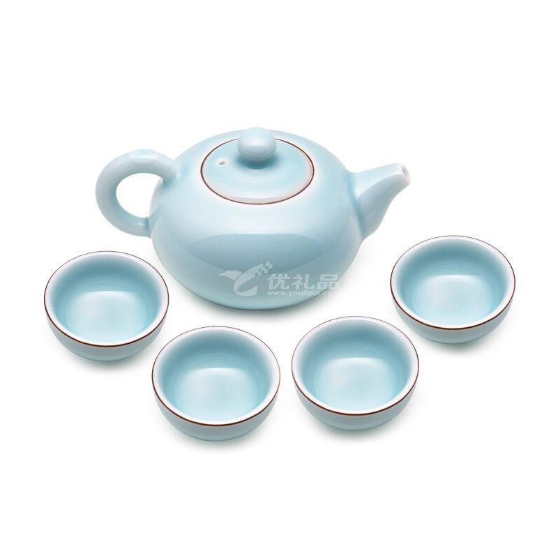 堂悦坊 龙泉青瓷听雨茶具套装创意茶杯茶壶组合礼盒装定制