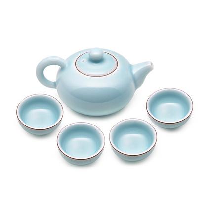 堂悦坊 龙泉青?#21830;?#38632;茶具套装创意茶杯茶壶组合礼盒装定制