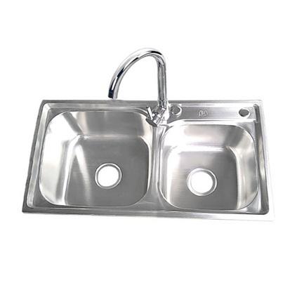 鷗利龍304不銹鋼雙層過濾水槽 雪花砂拉絲一體拉伸雙水槽定制