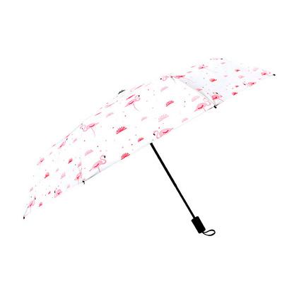 韓國小清新粉紅火烈鳥晴雨傘黑膠防紫外線折疊遮陽傘定制