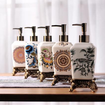 新品 創意歐式陶瓷洗手液瓶 酒店定制乳液瓶洗發水沐浴露分裝瓶定制