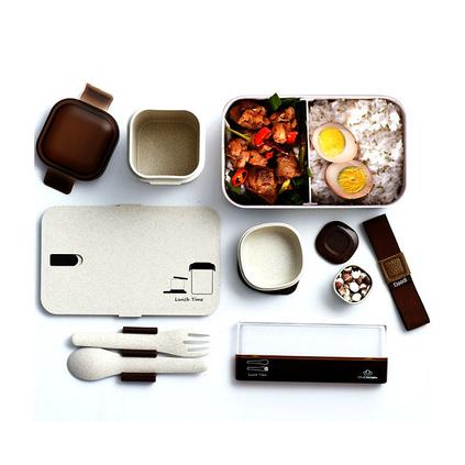 稻谷纖維日式便當盒 可微波爐飯盒分格學生便當餐盒定制