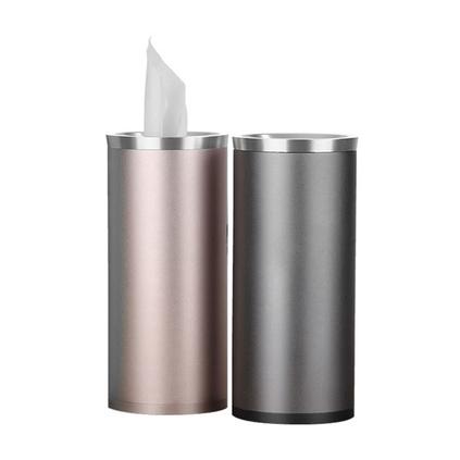 貝麗多用版車載紙巾盒汽車用品座式圓筒掛式車內抽紙鋁合金紙巾杯定制