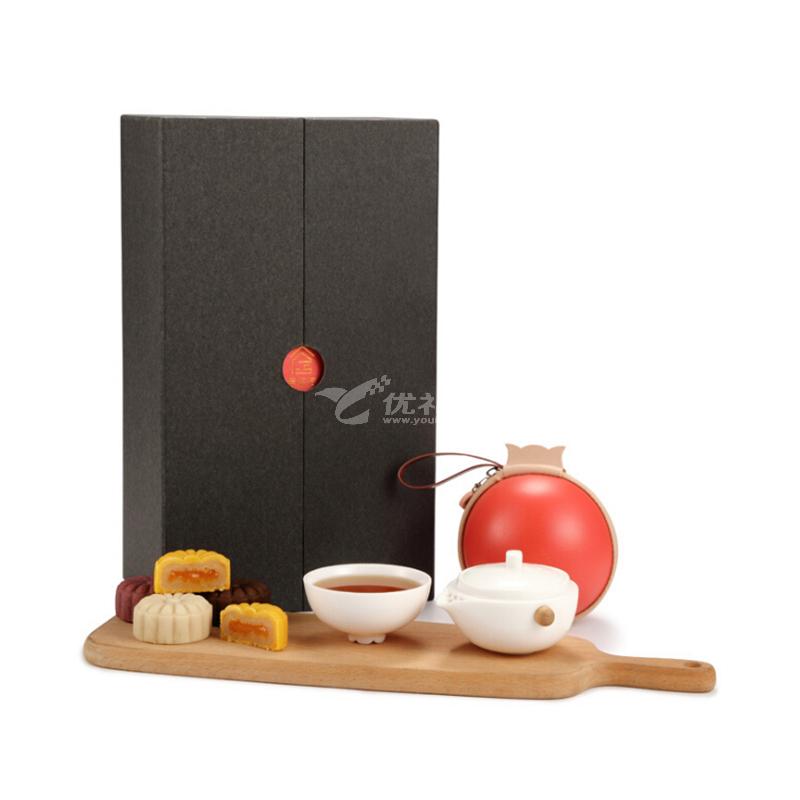 惜物造紫砂茶具中秋月饼礼品套装一壶四杯功夫茶具高端商务礼品套装定制