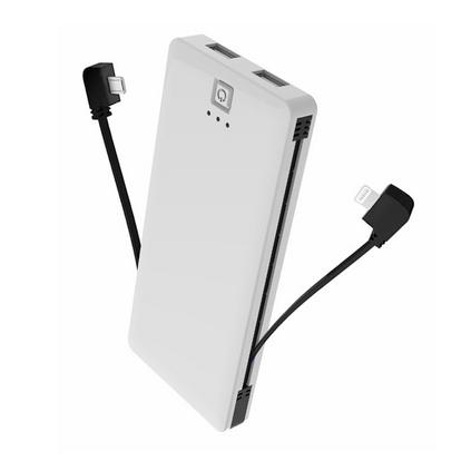 IDEO 超薄帶AC插頭直插式5000毫安便攜充電寶自帶充電線移動電源定制