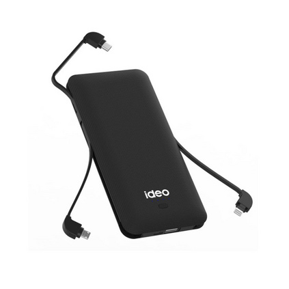 ideo充電寶自帶線帶插頭10000毫安大容量移動電源定制