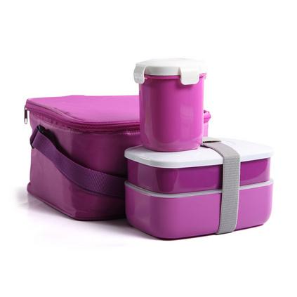 送禮便當盒套裝 時尚日本雙層塑料密封保溫飯盒 可微波保鮮盒定制