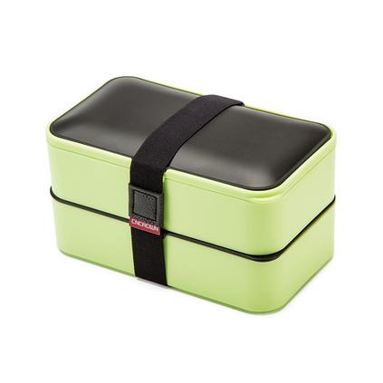時尚新款雙層便當盒保鮮盒日式學生塑料方形飯盒保溫盒定制