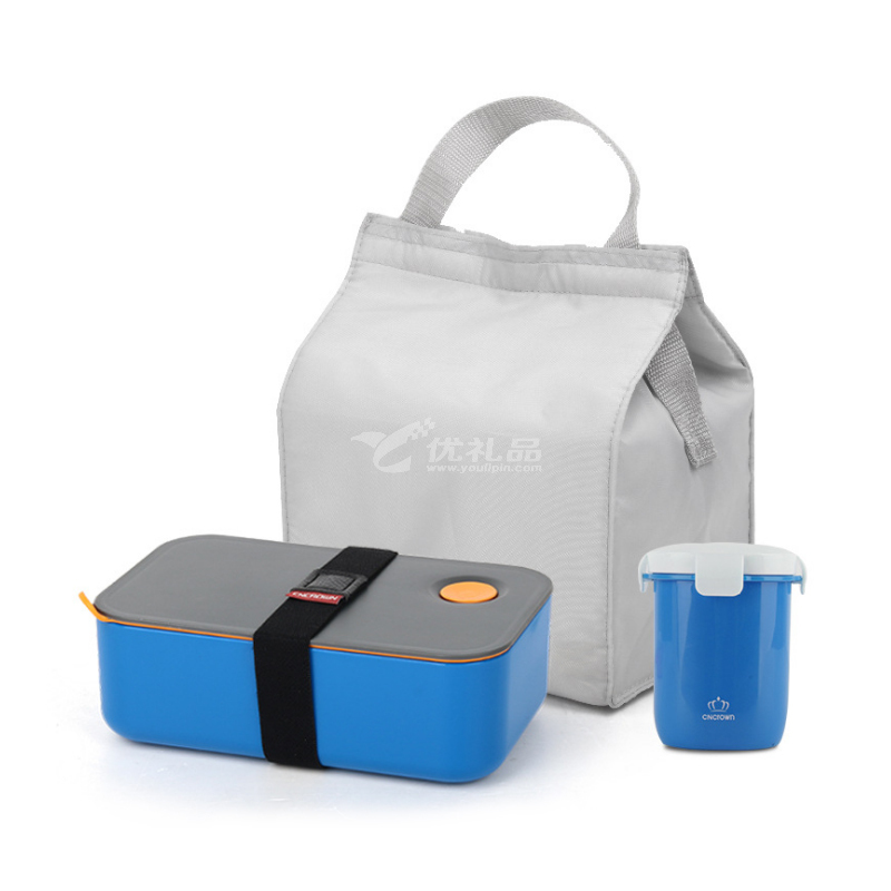 高檔時尚簡約健康塑料飯盒 單層便當盒定制 可加熱可分隔帶杯子