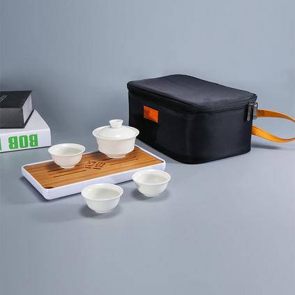 日式旅行茶具套装便携包旅游简约家用中国白(小白)茶具定制