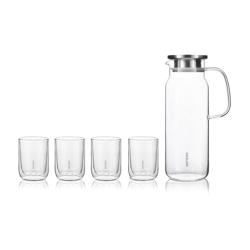 德世朗(DESLON)高硼硅玻璃冷水壶凉水果汁壶茶杯5件套装定制