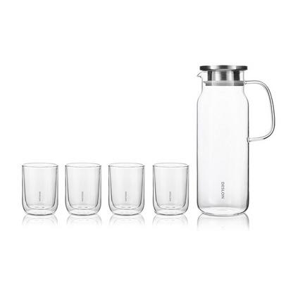 德世朗(DESLON)高硼硅玻璃冷水壺涼水果汁壺茶杯5件套裝定制