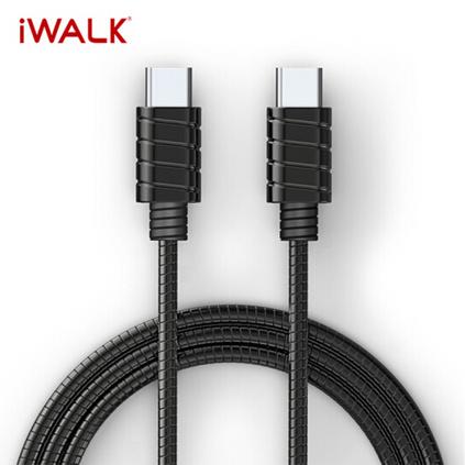愛沃可 Type-C轉Type-C金屬線 PD快充安卓數據線定制 支持Macbook/Switch 鐵灰 1.2m