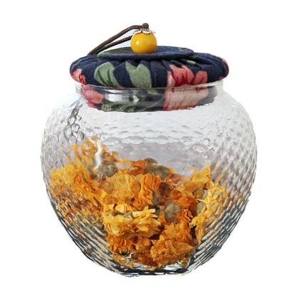 耐熱六角玻璃茶葉罐包裝罐 花布軟木塞透明密封罐雜糧花茶罐定制