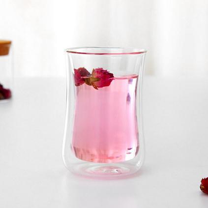 雙層高硼硅耐熱花茶杯果汁杯隔熱保溫家用玻璃杯定制