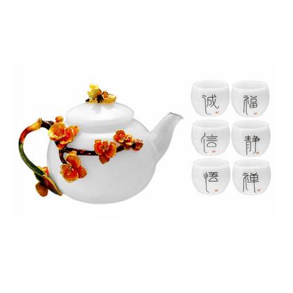 耐熱琺瑯彩花玻璃茶壺功夫養生壺茶具套裝定制