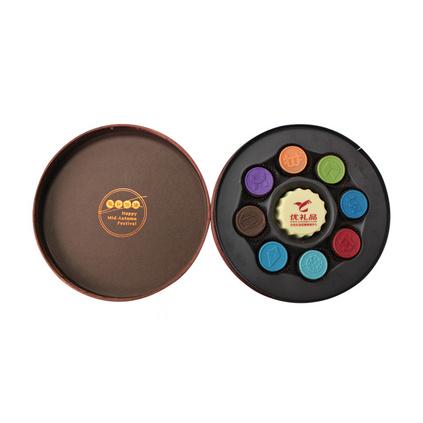 巧克力中秋禮盒裝定制可企業定制絲絨花純可可脂款月餅定制