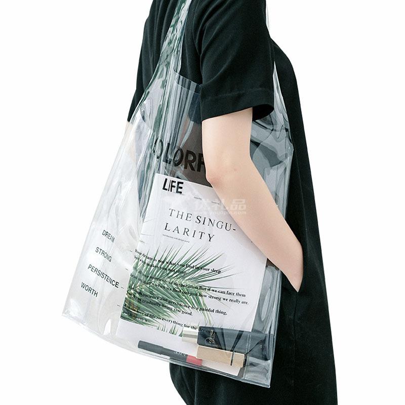網紅透明袋定制PVC斜跨手提塑料果凍袋定制 38x10x68大號