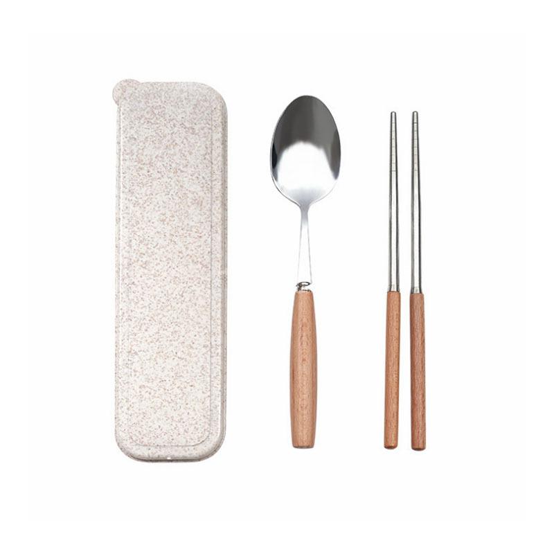 不銹鋼筷子木柄勺子套裝便攜式餐具兩件套裝學生筷子盒定制