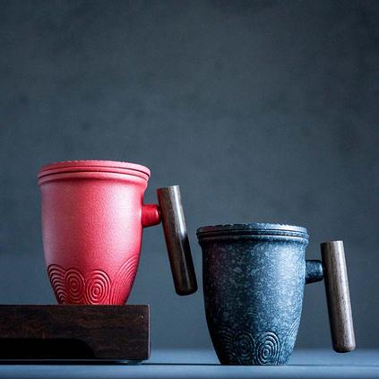復古馬克杯陶瓷帶蓋帶過濾網實用禮品大容量泡茶杯定制