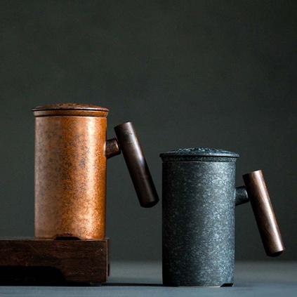 复古陶瓷马克杯带过滤网带盖简约茶水分离泡茶办公新品定制