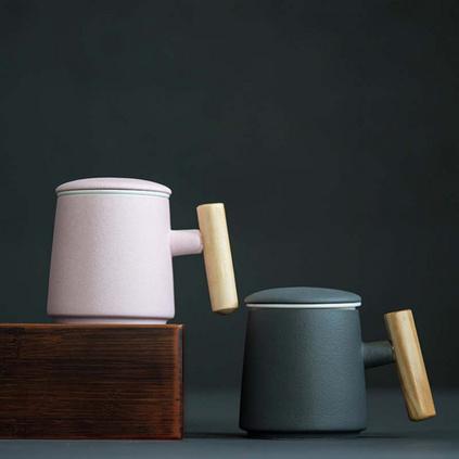 帶蓋咖啡杯子情侶陶瓷杯創意木柄牛奶杯水杯隨手茶杯馬克杯定制