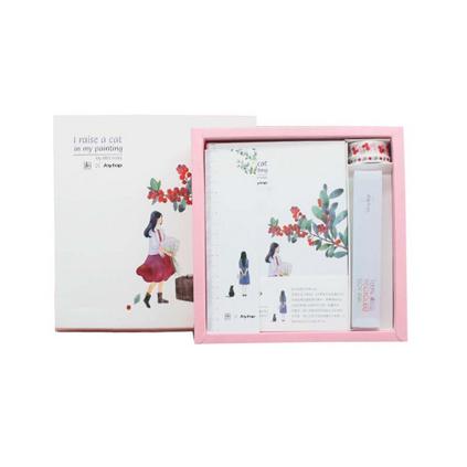 悦木在画里养只猫礼盒套装记事本创意笔记本子少女心可爱礼物定制