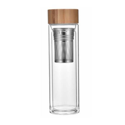 Diller雙層玻璃杯水杯男士商務車載加厚便攜水杯辦泡茶杯定制