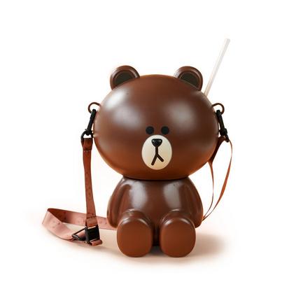LINE FRIENDS布朗熊爆米花桶一體桶玩偶斜挎包送女友禮物520定制