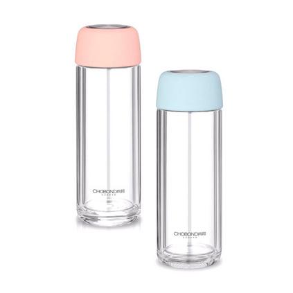肖邦 清雅水晶杯CB-S105 糖果色雙層玻璃水杯定制