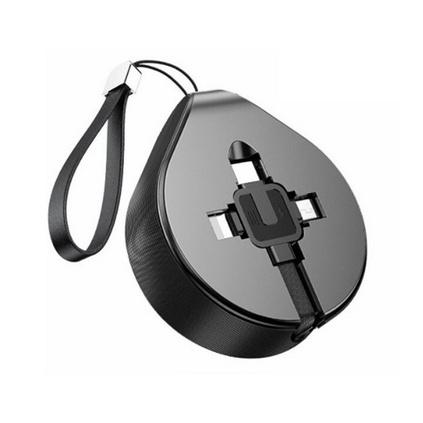 倍思水滴掛繩三合一伸縮數據線1.5米手機充電便攜數據線蘋果華為安卓三合一USB三合一伸縮數據線定制