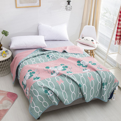 Disney/迪士尼三合一多功能浪漫之吻床單夏涼被空調被可水洗雙人被子兒童被多功能被定制 150x200cm