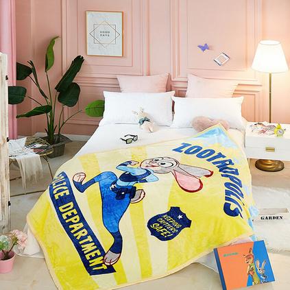 Disney迪士尼 瘋狂動物城毛毯卡通云毯 辦公室午休毯空調蓋毯定制100*110cm 單層