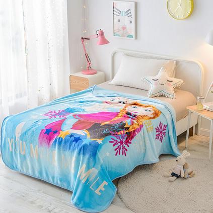 Disney迪士尼 冰雪奇緣艾莎安娜毛毯冬季云毯宿舍學生毯子雙人床睡毯多功能毛毯云毯定制 150x200cm